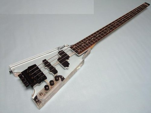 Ktone 4 String Clear Body Lucite Electric Bass Guitar, Headless with Free Gig Bag New