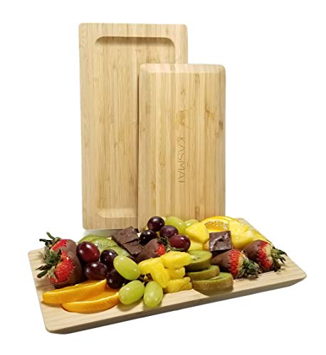 Bamboo Platter | Set of 2 Bamboo Serving Platters - Large & Small Natural Appetizer Trays. Versatile Eco-Friendly Plates for Fruit, Cheese, Crackers, Charcuterie that Enhance Any Occasion -By KASMAT (Best Cheese Cracker Recipe)