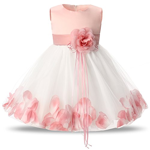 NNJXD Girl Tutu Flower Petals Bow Bridal Dress for Toddler Girl Size (M) 10-12 Months Pink
