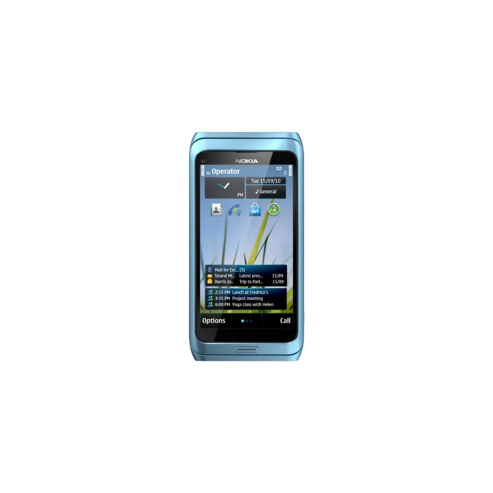 Nokia E7 00 Unlocked GSM Phone with Touchscreen, QWERTY Keyboard, Easy E mail Setup, GPS Navigation, 8 MP Camera  U.S. Version with Warranty (Blue)