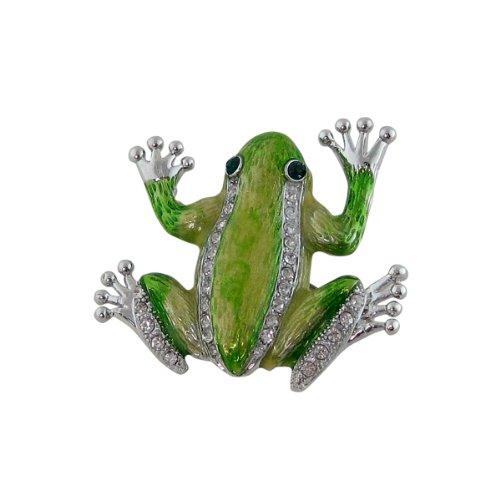 Green Tree Frog Pin Pendant Bejeweled ()