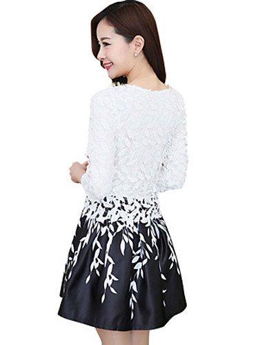 PU&PU Robe Aux femmes Gaine Vintage,Mosaïque Col Arrondi Au dessus du genou Polyester , black-2xl , black-2xl