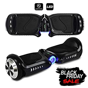 CHO Electric Self Balancing Dual Motors Scooter Hoverboard with Built-in Speaker and LED Lights - UL2272 Certified (4.5 Inch Wheels (No Speaker) Black)