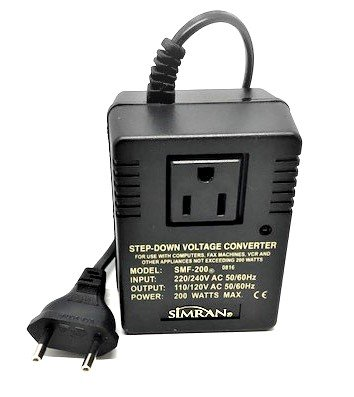 - Simran SMF-200 Deluxe 200 Watts Step Down Voltage Converter for International Travel to AC 220V/240V Countries, Ideal for Laptops, Cameras, iPhones, BlackBerry, iPods etc