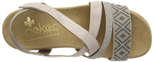 Sparkling Beige Flat Sandal Womens Rieker fYAxx