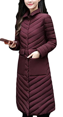 Stand Down amp;S Packable amp;W Wine Jacket M Red Long Women's Collar Ultralight XwOO8d