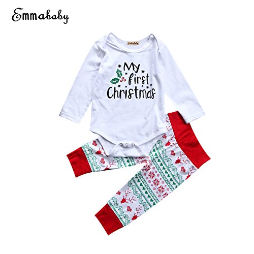 Unisex Baby Girls Clothes Long Sleeve 'My First Christmas' Romper Tops Outfit Pants Set +Hat (0~6Months, White)