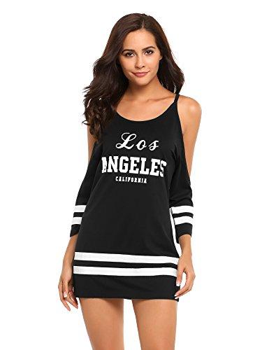 Zeagoo Womens Loose Cold Shoulder California Los Angeles Letter Print Mini Shirt Dress (Baseball Jersey Dresses)