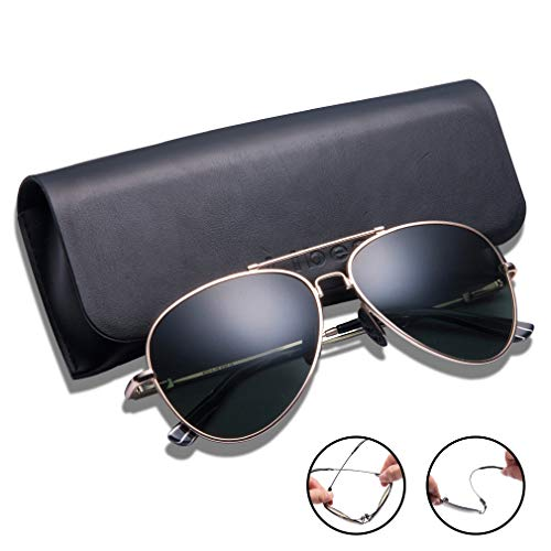 TAIQX Polarized Sunglasses for Women/Men with Driving Sunglasses Classic Aviator Sunglasses with Spring Arms Suit Oversized and Average-Sized Faces,400 UV Protection
