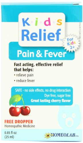 Homeolab, Kids Relief Pain Fever Cherry Liquid Solution, 0.85 Fl Oz - Homeolab Kids Relief Remedies
