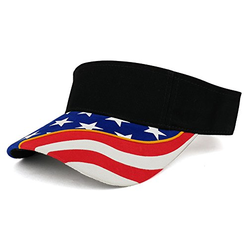 USA Flag Printed Bill Brushed Cotton Twill Sun Visor - Black