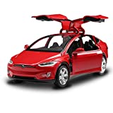 Sen Bo Diecast Vehicle Alloy Tesla Toy car Model X 90 Pull Back Toy Cars with Sound&Light Toy Kids Toys 1/32 Scale (RED)