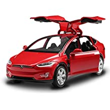 Diecast Model Cars Tesla Toy Cars Model X 90 Alloy Pull Back Toy car with Sound & Light Toy Kids Toys 1/32 Scale (RED)