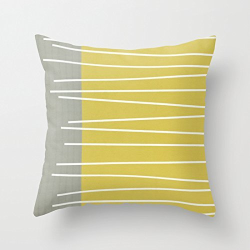 - 1ZMountletstore MId Century Modern Textured Stripes Personalized 18x18 Inch Square Cotton Blend Linen Throw Pillow Case Decor Cushion Covers Beige