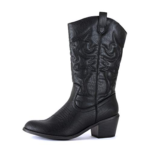 West Blvd Miami Cowboy Western Boots, Black Pu, 7.5