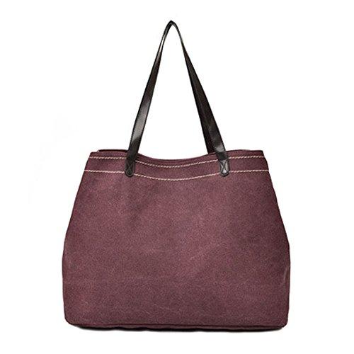 Ecokaki Women's Casual Large Capacity Canvas Handbag Multicompartment Shopper Shoulder Bag Wine