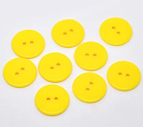25 x Plain Yellow Round 23mm Resin Sewing Buttons for Knitting Arts Crafts and Clothes