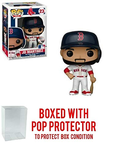 POP! Sports MLB's Boston Red Sox, JD Martinez #23 Action Figure (Bundled with Pop Box Protector to Protect Display Box)
