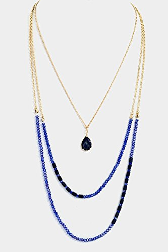 Karmas Canvas Beads Crystal Accent Triple Layered with Tear Drop Semi Precious - Palomar Outlets