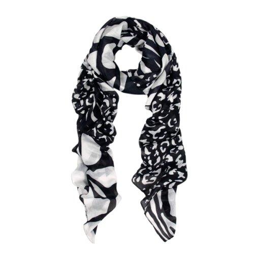 Black Leopard Scarf (Premium Classic Leopard Animal Print Fashion Scarf, Zebra Mix Blk)