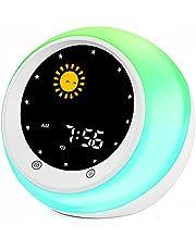 I.CODE Zon & Moon Rise Kids Wekker, Kinderslaaptrainer, Slaapgeluidsmachine, Wakker Licht & Nachtlampje, Leer Kinderen Dag & Nacht