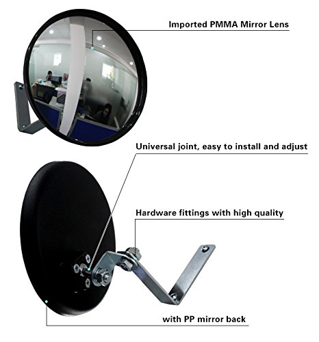 Convex Mirror for Security and Safety Circular Acrylic Security Mirror 9''(22cm) for Blind Spots at Home, Driveway, Offices, Stores and Traffic with Adjustable Fixing Bracket Traffic Mirror by StartFine (Image #4)