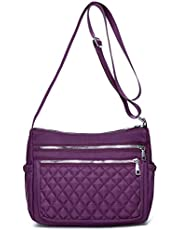 Quilted Nylon Crossbody Purse for Women Waterproof Daily Multi-Pocket Shoulder Bag Pocketbooks