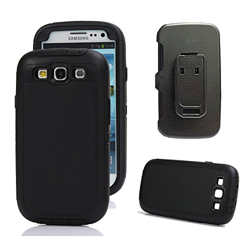 se, Harsel Defender Series Heavy Duty High Impact Shockproof Full Body Protective Military with Belt Clip Built-in Screen Protector Case Cover for Samsung Galaxy s3 - Black ()