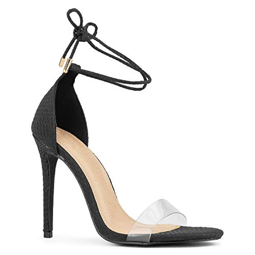 RF ROOM OF FASHION Ankle Wrap Around Clear PVC Band Stiletto Heel Dress Sandals Black Size.6.5