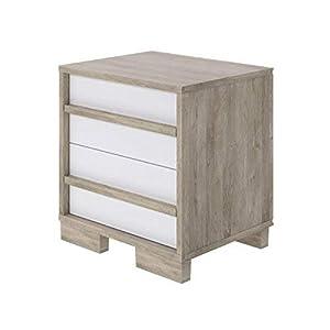Amazon Brand –Movian Havel 2-Drawer Bedside Table, 35 x 43 x 45cm, Light Brown Oak-Effect/White