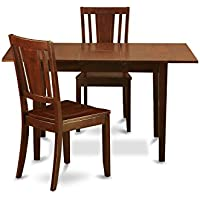East West Furniture NODU3-MAH-W 3-Piece Dinette Table Set