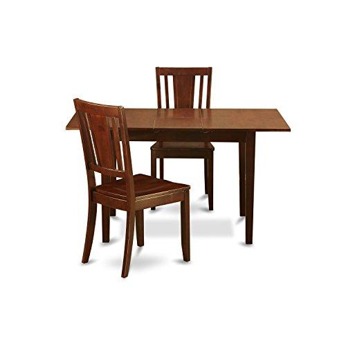 East West Furniture NODU3-MAH-W 3-Piece Dinette Table Set Brown Dinette