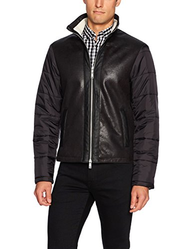 Armani Leather Jackets - A|X Armani Exchange Men's Eco Leather Front Jacket with Quilted Nylon Sleeves, Black, Medium