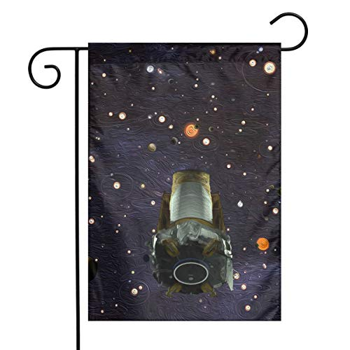 QG ZZX Garden Flag NASA Retires Kepler Space Outdoor Seasonal Garden Flag for Decoration Christmas, Fall, Halloween, Thanksgiving, Valentine's Day, Spring, Easter, Summer, Patriotic Day 12 X 18 Inch