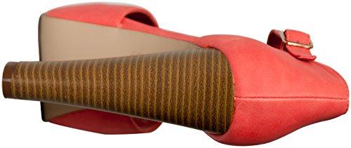 Breckelles Women's BRINA-21 Peep Toe High Heel T-Strap Platform Sandals Grapefruit 8.5
