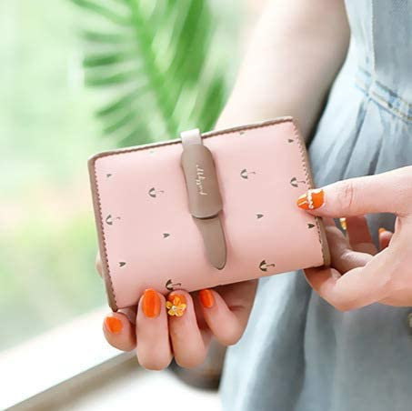 Women Purse Color : Pink Color : Off-White LanDream New Short Ladies Wallet Simple 30/% Draw Belt Printing Student Cute Wallet Tide