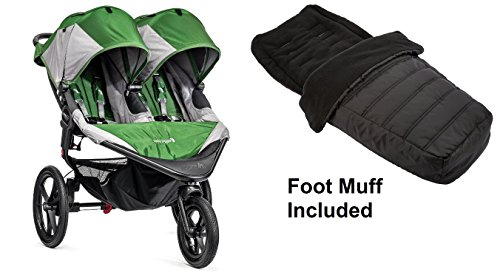 Baby Jogger 2016 Summit X3 Double - Green/Gray with Black Footmuff