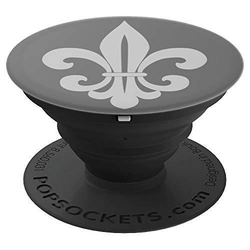 Fleur Pattern - French Paris Gray On Gray Grey Fleur De Lis Pattern - PopSockets Grip and Stand for Phones and Tablets