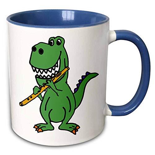 3dRose All Smiles Art Dinosaurs - Cute Funny Green T-rex Dinosaur Playing Flute Cartoon - 15oz Two-Tone Blue Mug (mug_288144_11) - Flute Cartoon