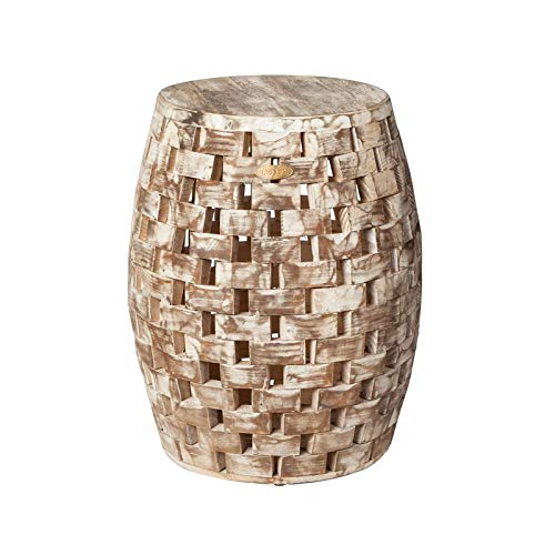 (Cosmos eStore Garden Stool Drum Type with Flat Base Solid Wood Patio Garden Decor Home Furniture Accessories Gift)