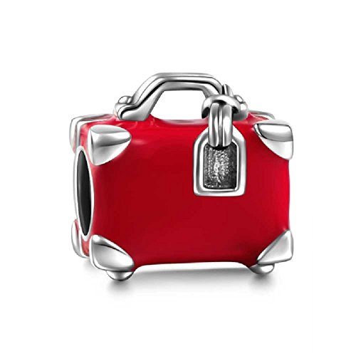 Travelers Luggage Suitcase Charm 925 Sterling Silver Fit European Brand Travel Charms by Charmed Love (Image #1)
