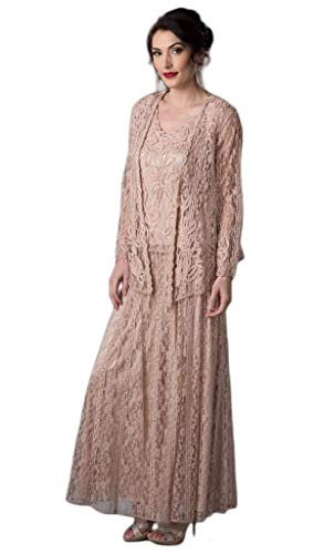 SOULMATES - 1602 Embroidered Circle Skirt Three Piece Gown Dusty Rose