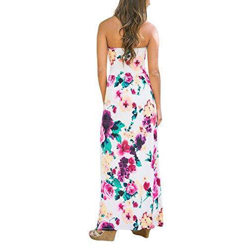 MIOIM Damen Bandeau Kleider Maxikleid Sommerkleid Blumenmuster Pocket long Dress Kleid e6rNxKZB
