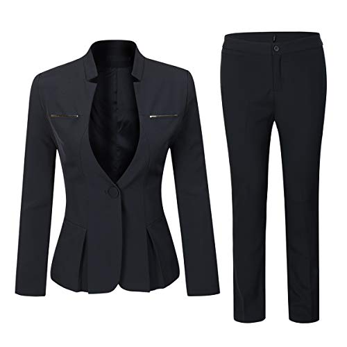 Women's Elegant Business Two Piece Office Lady Suit Set Work Blazer Pant (Suit Set-Black, L)