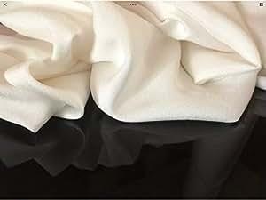 """Hermoso 100% Seda Marfil crepé tela gamuza de vestido de novia ropa 44""""112cm de ancho"""