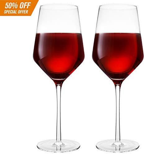 Hand Blown Crystal Wine Glasses - Bella Vino Classy Red/White Wine Glass Made from 100% Lead Free Premium Crystal Glass, 16 Oz, 9', Perfect for Any Occasion, Great Gift, Set of 2, Clear