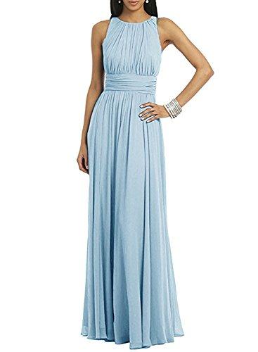 ASVOGUE Pleated Light Prom Long Women's Dress Blue Solid Sleeveless 1qxORrwt1