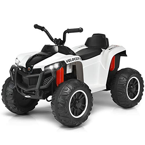 Costzon Ride On ATV, 12V Battery Powered 4-Wheel All Terrain Vehicle w/Spring Suspension, Headlights, MP3/TF/USB, Horn, High/Low Speed, Electric Ride on Car for Toddlers, Boys & Girls (White)
