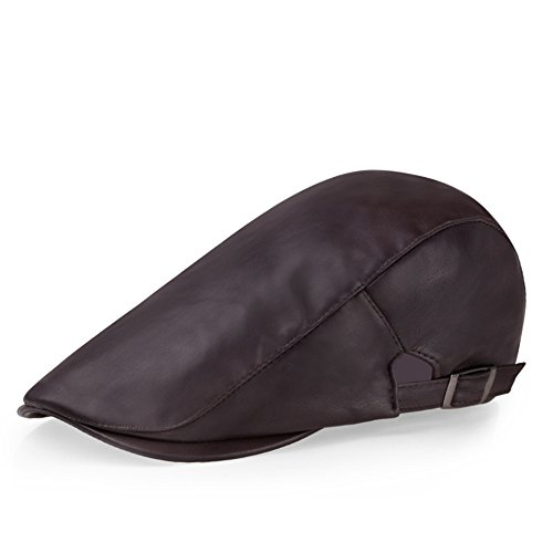HEYFAIR Newsboy Cap Hooligan Hat For Women PU Leather Cabbie Driving (3)
