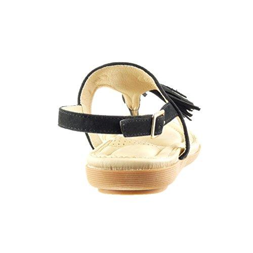 2 Frange Talon Femme Sandale cm Pom Chaussure Pom Salomés Plat Angkorly Mode Noir qAvXaw